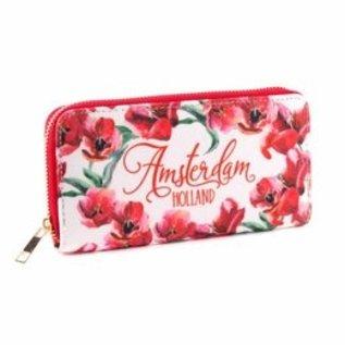 Geldbörse mit roten Tulpen