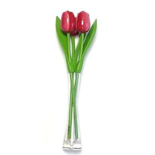 3 rood - witte houten tulpen in een glazen vaas