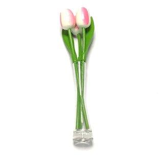 3 weiß - rosa Holztulpen in einer Glasvase