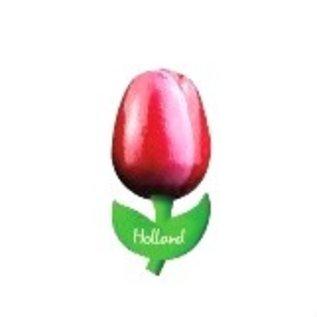Houten tulp op een  magneet met logo groot