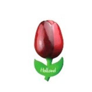 Houten tulp op met logo een  magneet klein