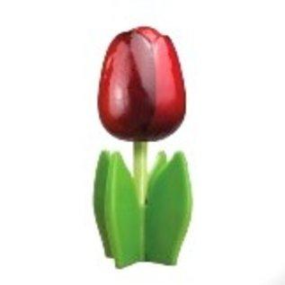 Hölzerne Tulpe auf einem Blatt mit Logo in verschiedenen Farben