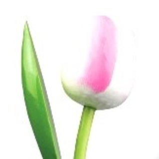Houten tulp met logo 34 cm in diverse kleuren