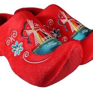 Red clog slippers with windmill