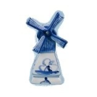 Delft blue windmill with tea light 16 cm