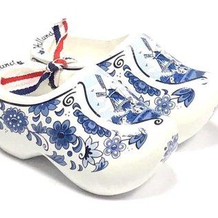 Souvenirs holzschuhe Delfter Blau 14cm mit Blumen und einer Windmühle 14cm