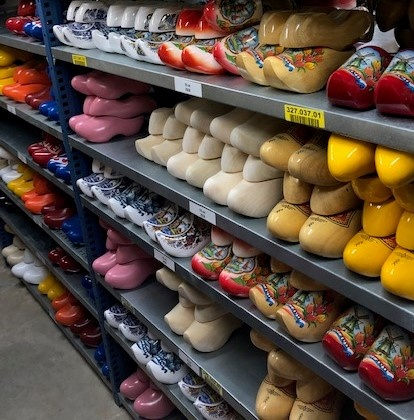 Warehouse wit wooden shoes