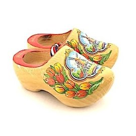 varnished souvenirs clogs 14 cm with tulip