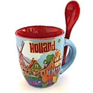Beker met lepel Holland klein