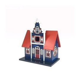 birdhouse in the shape of a transverse gable house
