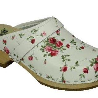 Dames schoenklomp wit met bloemen
