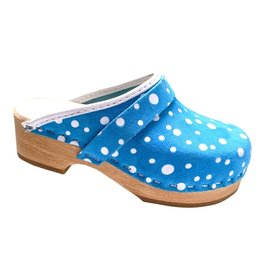 Blue shoe clog with white dots