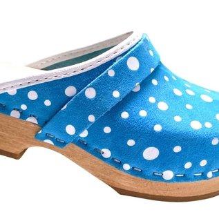 Blauwe schoenklomp met witte stippen