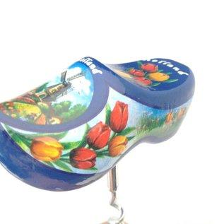 souvenir klompjes als kurkentrekker blauw