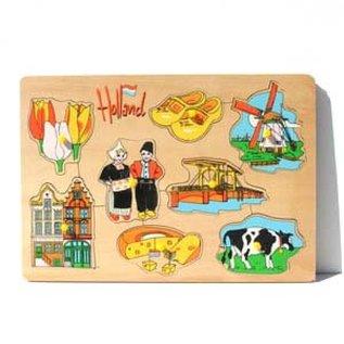 houten puzzelplankje met Hollandse afbeeldingen
