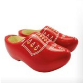 Red children's wooden shoes with white stripes