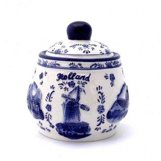 suikerpot delftsblauw | Originele Delfts Blauwe suikerpot met Hollandse afbeelding