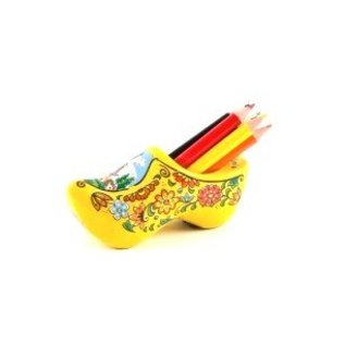 yellow clog sharpener with colored pencils