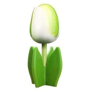 Witte houten tulp op een blad