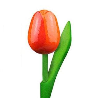 houten tulpen in de kleur oranje 20cm
