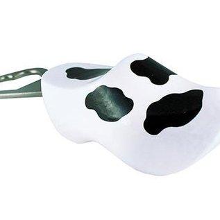 Souvenir Clog als Flaschenöffner in weiß mit Kuh-Motiv