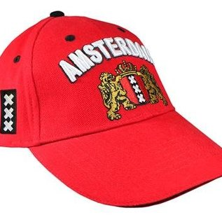 The red caps are provided with the Amsterdam Wapen.