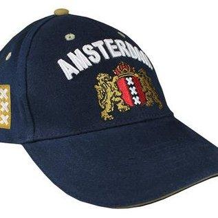 Hollandse cap in de kleur blauw voorzien van het Amsterdam Wapen