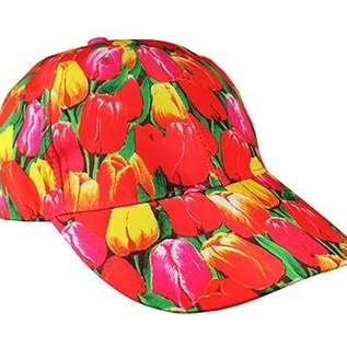 Cap with pictures of tulips