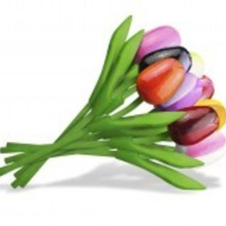 Mixed bouquet of wooden tulips