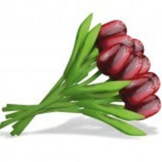 Boeket rode houten tulpen