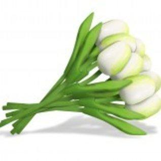 boeket houten tulpen in de kleur wit 20cm