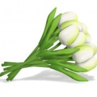 Bouquet of white wooden tulips