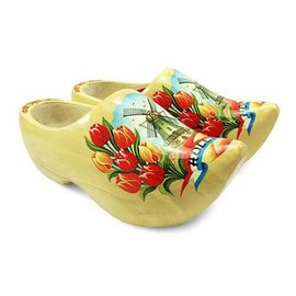 Wooden shoes with a windmill varnished