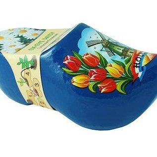 Clogs mit Blumen Blau