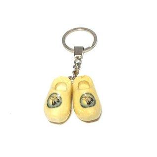2 Holzschuhe Schlüsselanhänger mit LOGO