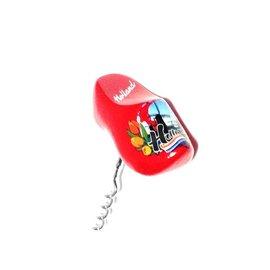 souvenir klompjes uitgevoerd als een kurkentrekker rood