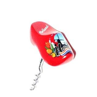souvenir corkscrew clog in the color red