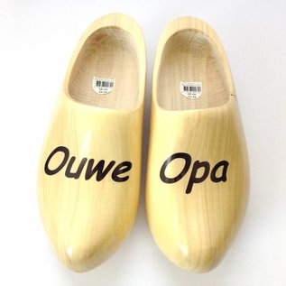 Wooden shoes with text