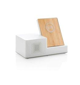 Opladers bedrukken als relatiegeschenk Ontario draadloze oplader met speaker P308.873