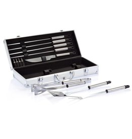 Barbecue geschenken bedrukken 12-delige barbecue set in aluminium koffer P422.18