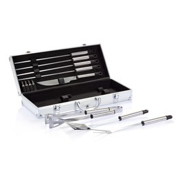 Barbecue geschenken relatiegeschenk 12-delige barbecue set in aluminium koffer P422.18