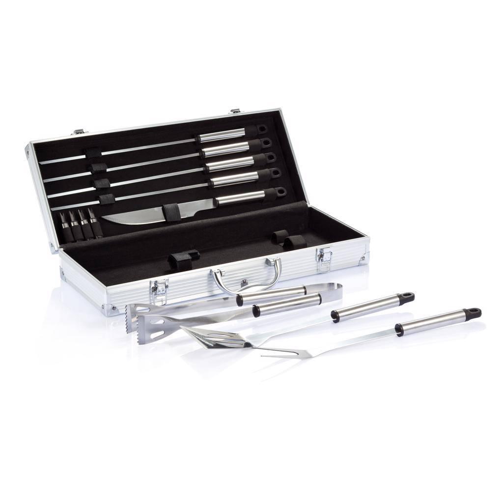 Barbecue geschenken 12-delige barbecue set in aluminium koffer P422.18