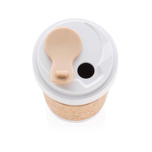 Thermosbeker relatiegeschenk ECO PLA 400ml beker met kurk handvat P436.593