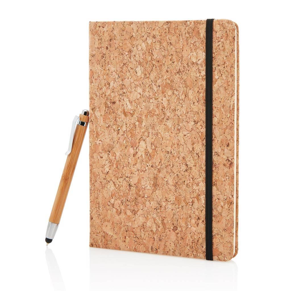 Notitieboekjes A5 kurken notitieboek incl. touchscreen pen P773.77