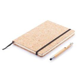 Notitieboekjes bedrukken A5 kurken notitieboek incl. touchscreen pen P773.77