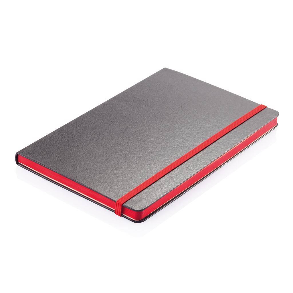 Notitieboekjes bedrukken Deluxe hardcover A5 notitieboek met gekleurde zijde P773.30