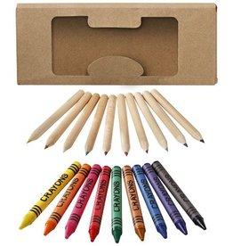 Kleurpotlood bedrukken 19 Delige set waskrijtjes en kleurpotloden