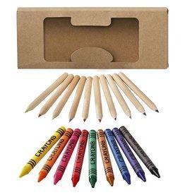 Kleurpotlood relatiegeschenk 19 Delige set waskrijtjes en kleurpotloden