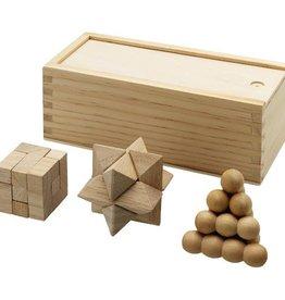 Sportartikelen bedrukken 3 delig houten denkspel