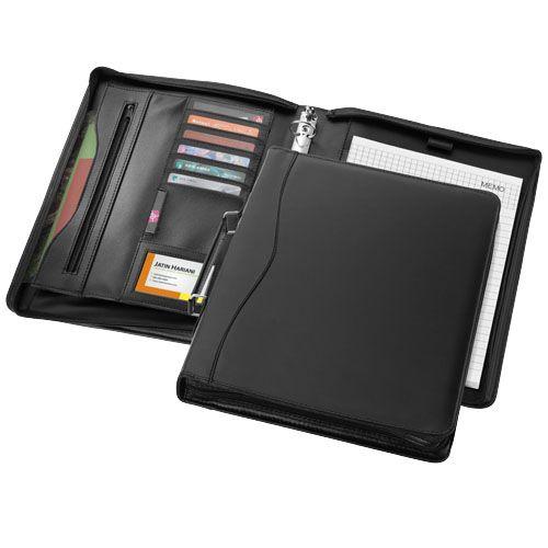 Schrijfmappen bedrukken Ebony A4 portfolio met ritssluiting en handvat 11998700